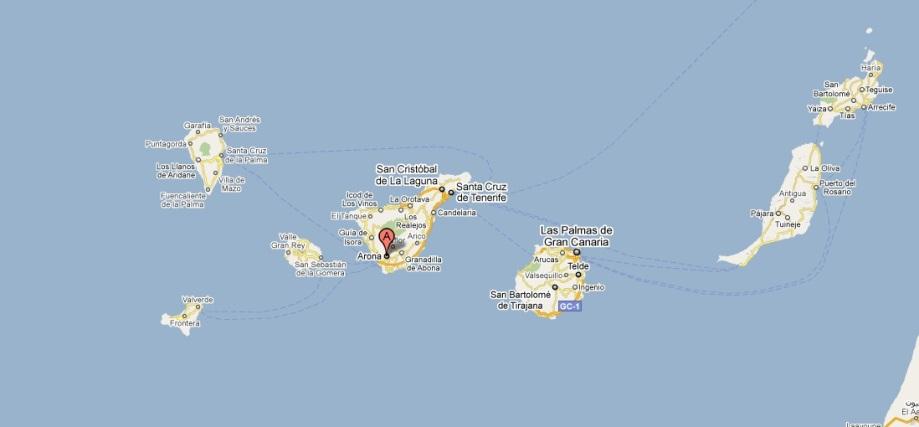 La mappa di Tenerife e Le Isole Canerie